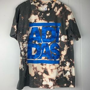 Adidas Gray Upcycled Bleach Dye Tee Blue Camo Logo